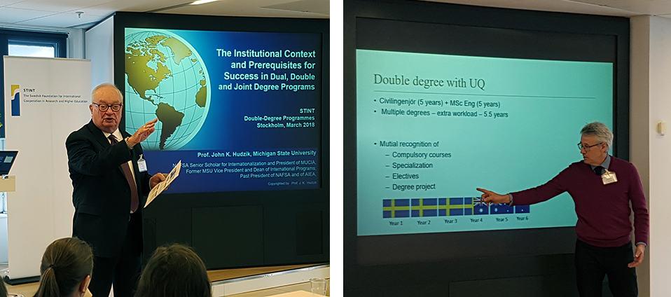 STINTS Double Degree Programmes seminarium. Bild vänster: Professor John Hudzik. Bild höger: Professor Per Warfvinge. Foto: Ida Clavenstam